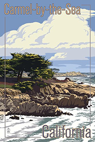 Carmel Lantern (Carmel-by-the-Sea, California - View of Cypress Trees (12x18 SIGNED Print Master Art Print w/ Certificate of Authenticity - Wall Decor Travel Poster))