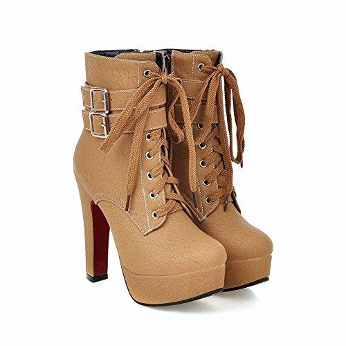 Minetom Damen Mode Gefüttert Plateau High Heels Runde Ankle Boots mit Schnalle Schnürstiefeletten Martin Stiefel Gelb
