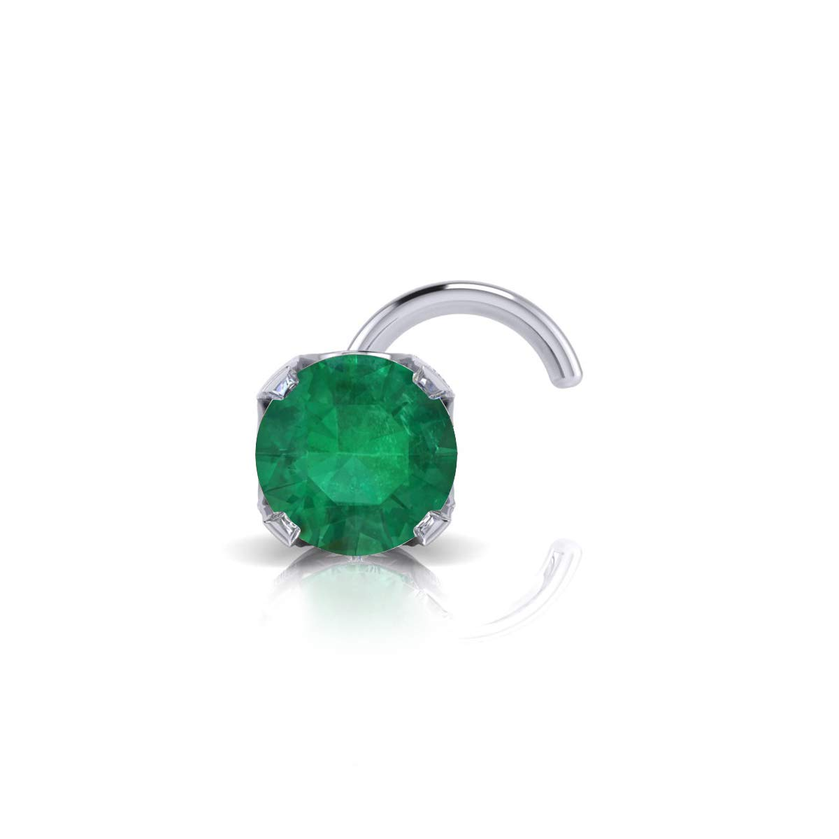 2mm 0.03 Carat Emerald Stud Nose Ring In 14K White Gold by Sparkle Bargains