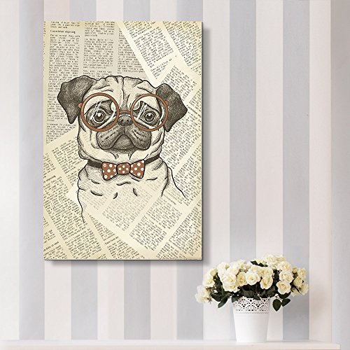 Creative Animal Figure on Vintage Paper A Pug Wearing Glasses