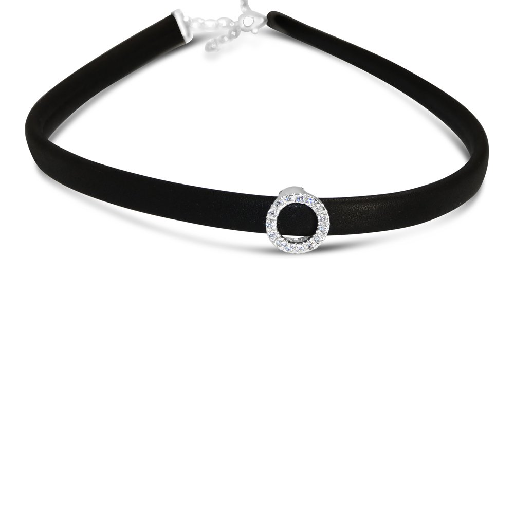 Vco STERLING SILVER CHOKER FAUX BLACK LEATHER WITH CIRCLE CZ LINE
