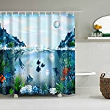 Cugap Mildew Resistant Anti-Bacterial Underwater World 3D Digital Printing Waterproof Bathroom Shower Curtain 12 Hooks