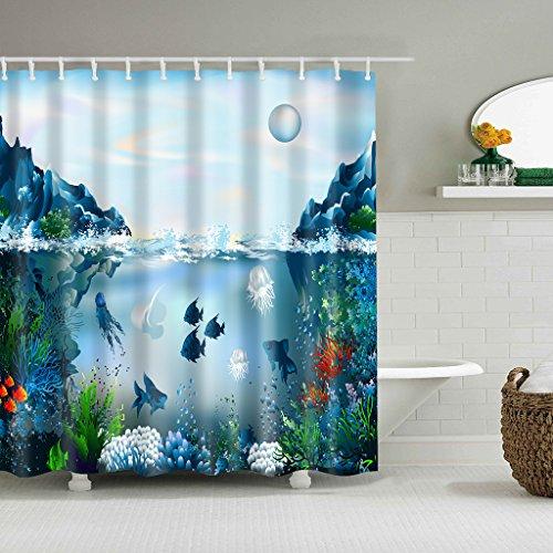 Cugap Mildew Resistant Anti-Bacterial Underwater World 3D Digital Printing Waterproof Bathroom Shower Curtain 12 Hooks by Cugap