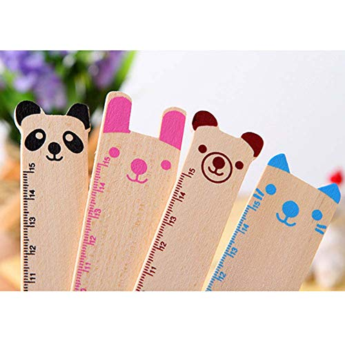 BALUZ Wooden Ruler,6 Inches/15cm Cute Novelty Animal Shape Drawing Ruler for Office School Supplies 10PCS by BALUZ (Image #6)