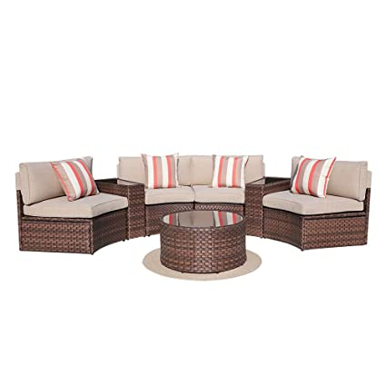 Fantastic Sunsitt 7 Piece Outdoor Sectional Furniture Patio Half Moon Set Brown Wicker Sofa Beige Cushions Glass Coffee Table Download Free Architecture Designs Lukepmadebymaigaardcom