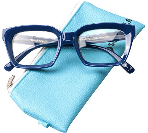 SOOLALA Retro Desinger 47mm Large Lens Square Reading Glass Big Eyeglass Frame, Blue, 3.0