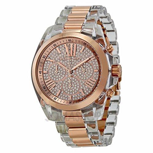 Michael Kors Michael Kors Bradshaw Cronógrafo Rose Cristal PAVE Dial Transparente Resina y Dorado Damas Reloj
