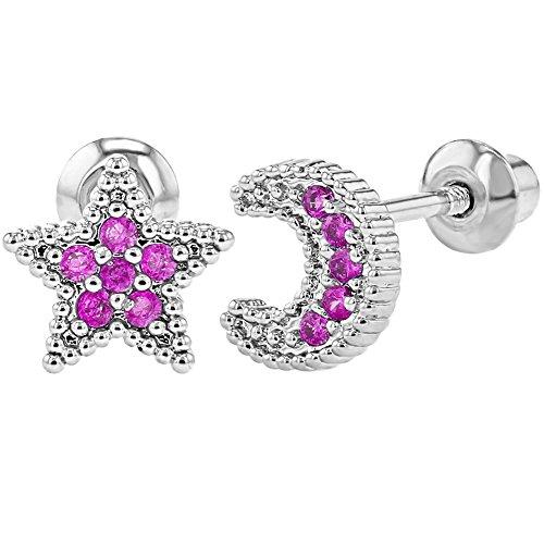 dfe2c29a93d3 In Season Jewelry - Chapado en Rodio Circonita Rosa Aretes en Forma de Luna  y Estrella