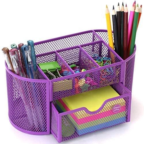 Oval Mesh Desk Organizer, 9 Compartments- Purple