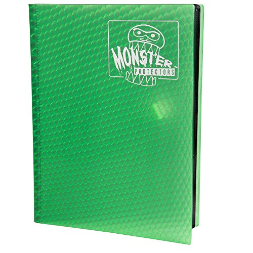 Monster Binder - 9 Pocket Trading Card Album - Holofoil Green - Holds 360 Yugioh, Magic, and Pokemon Cards