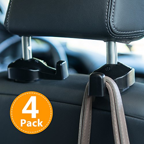 Toplus 4 PACK Car Headrest Hooks - Vehicle Universal Car Organizer Car Back Seat Headrest Hanger Holder Hook for Bag Purse Cloth Grocery, Black- Coloured