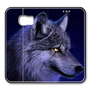 S6 Case, Galaxy S6 Case, Wolf Blue Customized Protect PU Leather Stand Case Flip Cover for Samsung Galaxy S6