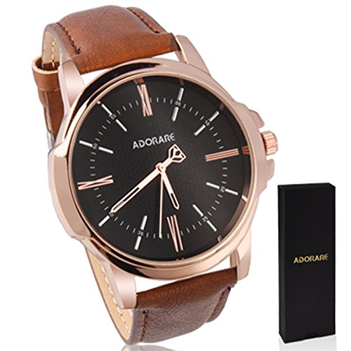 (Waterproof Wrist Watch for Men, ADORARE Movement Leather Men Watches with Classic Brown Leather and Janpanese Quartz Movement for Boys Men Business Casual Office School, Black Dial )