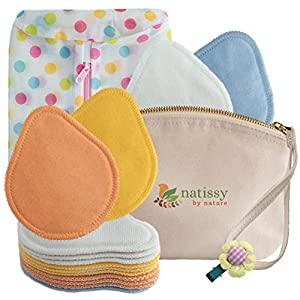 Natissy Washable Organic Cotton Nursing Breast Pads, 14-Pack of Soft Reusable Breastfeeding Baby Nipple Cloths Made in…