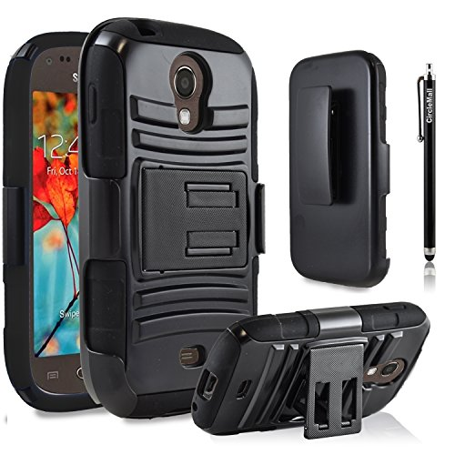 Galaxy Light Case, Samsung Galaxy Light Case, Premium Heavy Duty Combo Case with Stand Holster And Belt Clip Black + Circle(TM) Stylus Touch Screen Pen (Samsung Galaxy Light Phone Case compare prices)