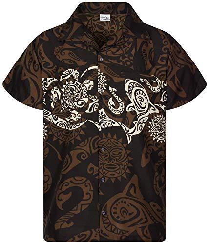 King Kameha Chemise Hawaïenne pour Homme Funky Casual Button Down Very Loud Courtes Unisex Maori Print Poitrine