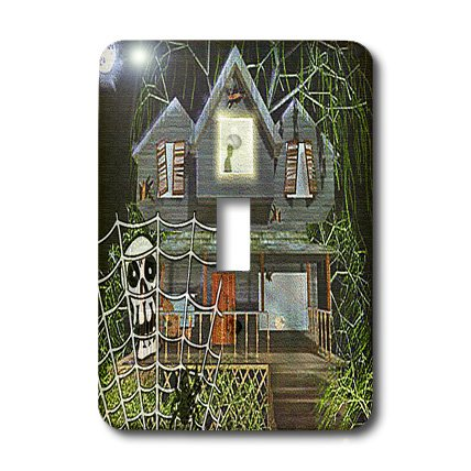 3dRose lsp_36399_1 Halloween Haunted House Cartoon Light Switch Cover]()