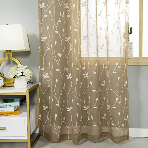 AmHoo Floral Leaf Embroidery Semi Sheer Curtain Rod Pocket Voile Sheer Curtains Set of 2 for Living Bedroom Window Treatment (Coffee, 53 x 84 Inch) (Brown Curtains Sheer)