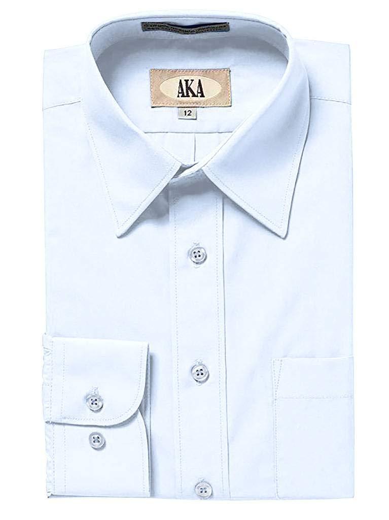 AKA Boys Wrinkle Free Solid Long Sleeve Dress Shirt - Light Blue 7 by AKA
