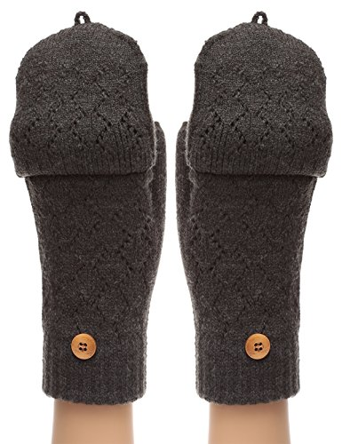 Flip Top Mittens - MIRMARU Women's Winter Knitted Fingerless Mitten Gloves with Flip Cover with Faux Fur Lining(602,Charcoal Grey)