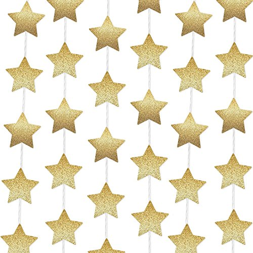 iLoveCos Gold Stars Christmas New Year Graduation Party Decorations Party Garland for Birthday Party Baby Shower Christmas Decoartions, 80 inch of Each, 6 Piece