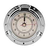 Qiilu Rome Retro Barometer Clock Temperature Humidity Meter for Navigation Marine RV Yacht Boat SUV(Silver clock watch without battery)
