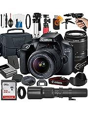$549 » Canon EOS 4000D / Rebel T100 DSLR Camera with EF-S 18-55mm + 500mm Preset Manual Focus Lens + SanDisk 32GB Card + Tripod + Case + MegaAccessory Bundle (23pc Bundles)