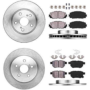 Front Rear Disc Rotors /& Ceramic Brake Pads Fits Toyota Prius