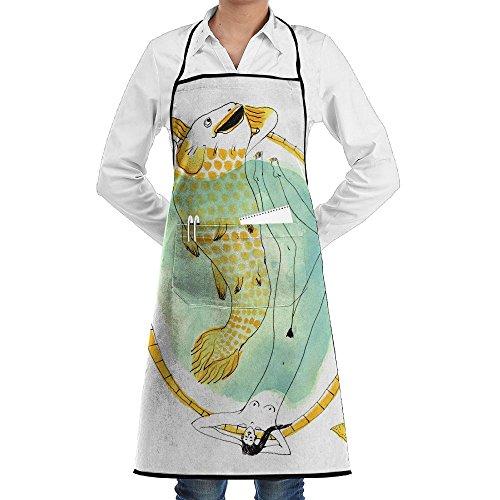 AI LEMON Spa Bath Goldfish Unisex Cooking Bib Apron Novelty Gift Chef Pocket Aprons BBQ Kitchen Cooking Apron 28'' X 20'' Inch by AI LEMON (Image #1)