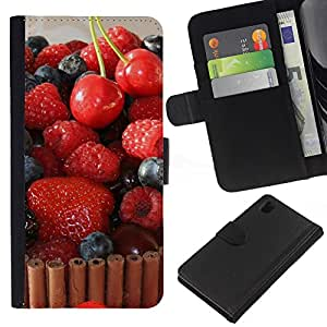 Ihec-Tech / Flip PU Cuero Cover Case para Sony Xperia Z1 L39H - Fruit Macro Raspberry Cherry Cake