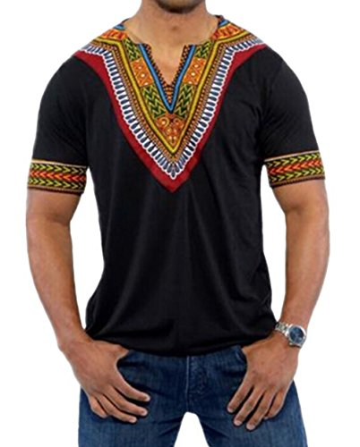 XARAZA Men's Short Sleeve Casual Dashiki Style T-Shirt African Blouse Tops