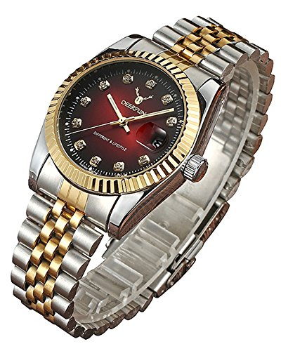 Fashion Luxury Stainless Steel Calendar Diamond Luminous Waterproof Sports Women Or Men Quartz Watch (Red Silver Gold)