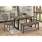 WE Furniture Madison 6 Piece Wood Dining Set - Aged Grey