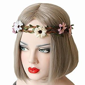 Bohemian Decorative Daisy Flowers Stretch Forehead Elastic Hair Band Hippie Double Layer Headband Head Crown Accessory for Holiday Wedding 91
