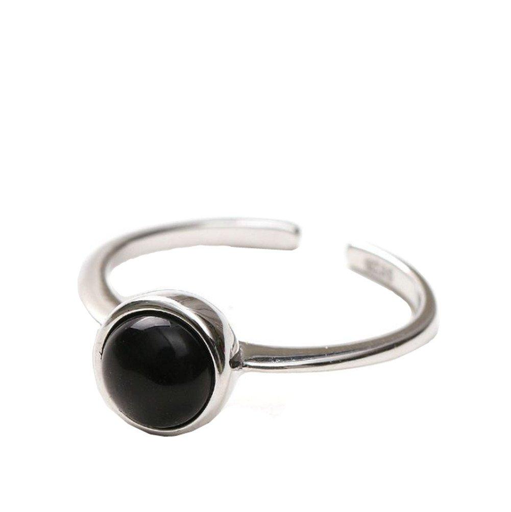 Outflower 1pcs Anello di agata tondo squisita e compatta anello femminile dolce anello aperto regalo di compleanno di gioielli di moda partito blu