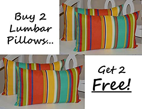 Set of 2 - Indoor / Outdoor Decorative Lumbar / Rectangle Pillows + 2 Free - Bright / Colorful Coral, Turquoise, Green, Blue, Yellow - Lumbar Set