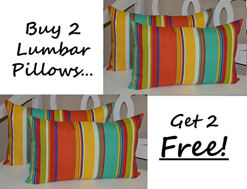 - Set of 2 - Indoor / Outdoor Decorative Lumbar / Rectangle Pillows + 2 Free - Bright / Colorful Coral, Turquoise, Green, Blue, Yellow Stripe