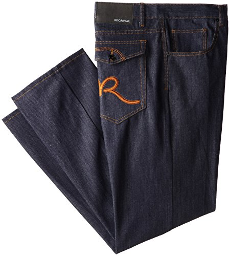 Rocawear Men's Big-Tall R Script Flap Jean,Raw Indigo/Glazed Ginger,54B ()
