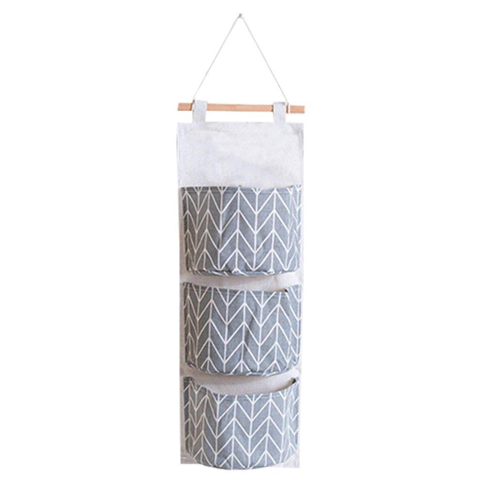 Daorier 1/× Sac de Rangement Suspendu Simple Mode avec 3 Poches Pochette de Rangement Panier Pochette de Rangement en Tissu de Coton Motif G/éom/étrique-Gris