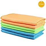 Hcapaii Microfibre Towels Set Bathroom Kitchen Fast-Drying Soft high Absorbency,Easy Remove Water Stains in Wine Glass,Dish,Watches, Mirror All-Purpose Cleaning Cloth,6 Pack