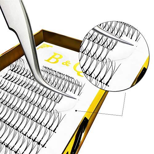 Premade Volume Eyelash Extensions 3D 4D Long Stem Premade Volume Fans C curl D curl 0.07 0.10 Russian Volume Eyelash Extensions 8-15mm Length B&Q Lash (3D-D-0.10 mm, 15 mm)