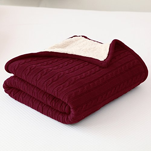CottonTex Cotton Knitted Cable Blanket w/Sherpa Lining 47x70 inches Ideal for Warm Keeping, Burgundy