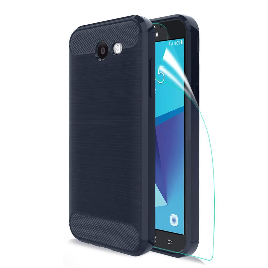 Samsung Galaxy J3 Prime Case, OEAGO [Anti-Slip] [ShockProof] [Scratch Resistant] Slim Fit Flexible Soft TPU Carbon Fiber Protective Case with HD Screen Protector for Galaxy J3 Released in 2017- Navyblue