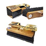 """GAMLIEL RETAIL Broom head , Made Pure Horse hair Floor Brush Sweeper 11.80"""" x 3.15"""" x 3.15"""" inch , Natural wooden base Superior horsehair broom """"like an Old time"""""""