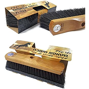 "GAMLIEL RETAIL Broom head , Made Pure Horse hair Floor Brush Sweeper 11.80"" x 3.15"" x 3.15"" inch , Natural wooden base Superior horsehair broom ""like an Old time"""