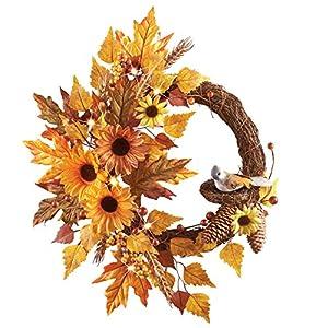 LED Lighted Sunflower Bird Wreath 26