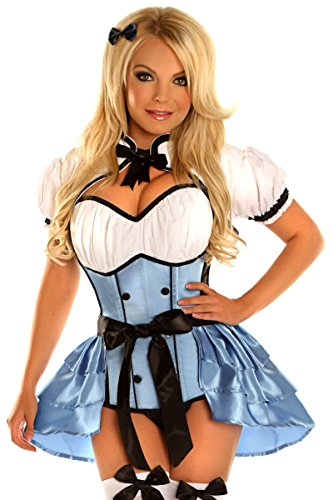 Daisy Corsets Women's Top Drawer Plus Size 4 Piece Alice Costume, Blue, 2X