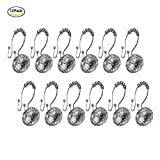 Xshelley Acrylic Diamond Shower Curtain Hooks Rings - Cute Crystal Gems Bling Rhinestones Bath Bathroom Accessories Set of 12pcs (Double Glide White)