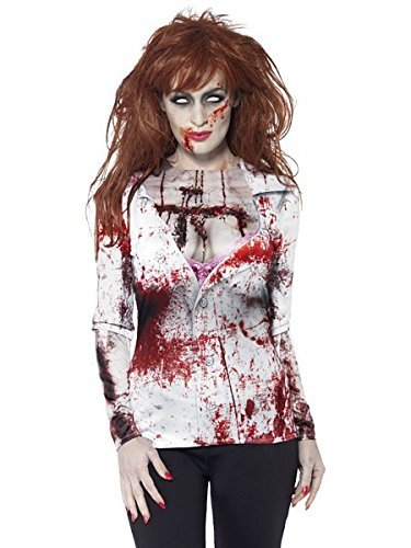 [Smiffy's Women's Zombie Female, T-Shirt, Sublimation Print, Zombie Alley, Halloween, Size 14-16,] (Womens Halloween Costumes Uk)