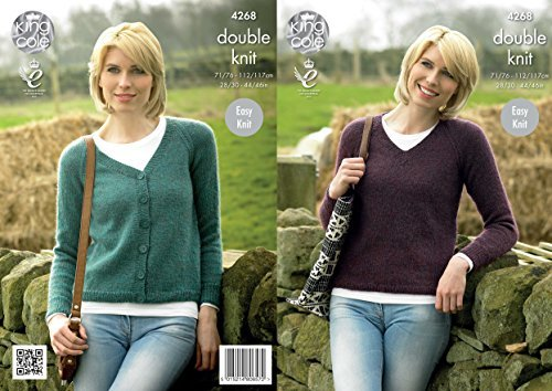 King Cole 42687 Knitting Pattern Leaflet Ladies Raglan Cardigan and Sweater to knit in Panache DK by King Cole by King Cole